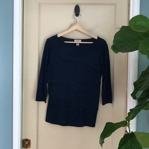 Ann Taylor Loft heathered blue 3/4 sleeve top